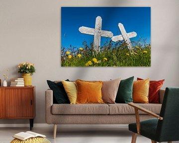 Deux croix sur le cimetière sur Daan Kloeg