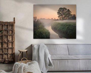 Mistige ochtend aan de Heulebeek in het Domein Bergelen