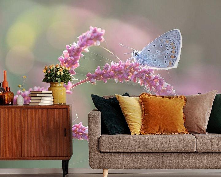 Sfeerimpressie behang: Blauw vlindertje op roze takje van Judith Borremans