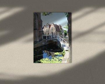 Delft op z`n mooist, gracht met oude huizen