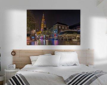 Breda in de avond (brug bij de vismarktstraat) van Alex Riemslag
