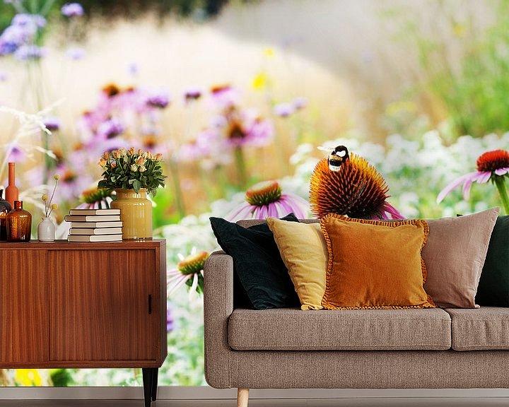 Sfeerimpressie behang: Romantisch dromerig Echinacea veld van Patricia Verbruggen