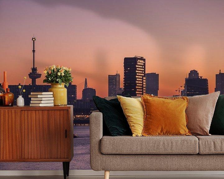Sfeerimpressie behang: De zonsopkomst in Rotterdam van MS Fotografie | Marc van der Stelt