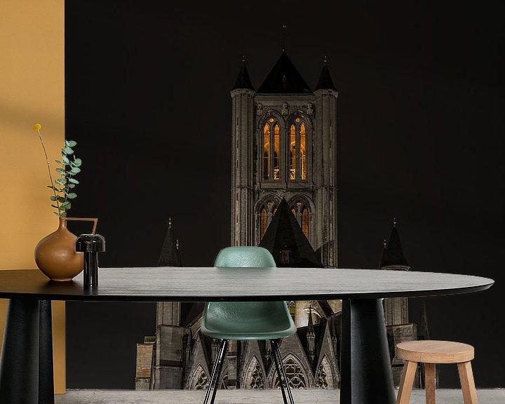 Sfeerimpressie behang: De Sint-Niklaaskerk in Gent van MS Fotografie   Marc van der Stelt