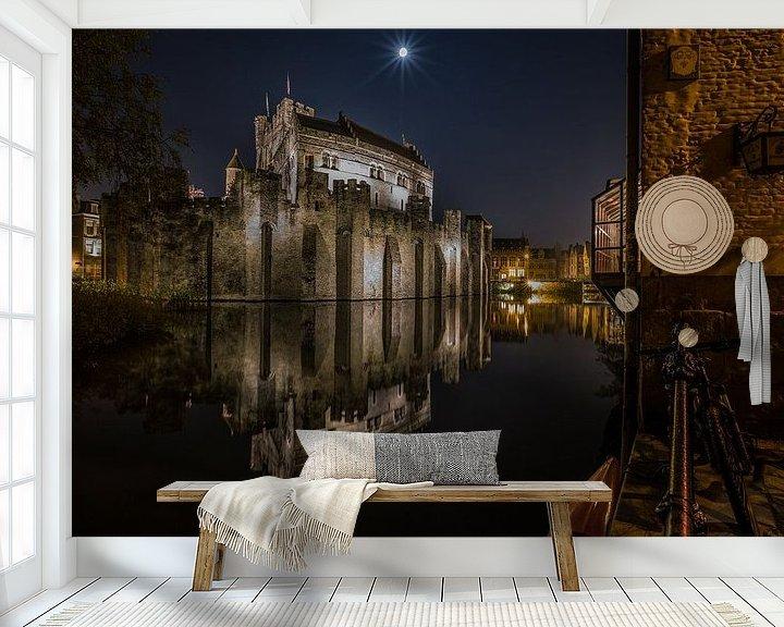 Sfeerimpressie behang: Het Gravensteen in Gent van MS Fotografie   Marc van der Stelt