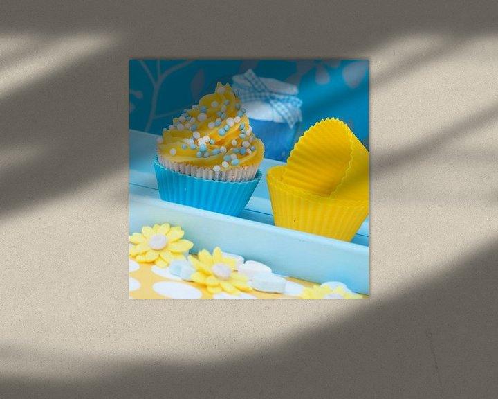 Sfeerimpressie: blauw gele cupcake setting van Patricia Verbruggen