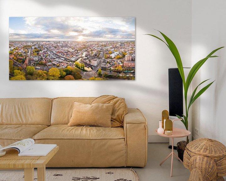 Sfeerimpressie: Zonsopkomst boven Groningen-Stad (panorama) van Frenk Volt