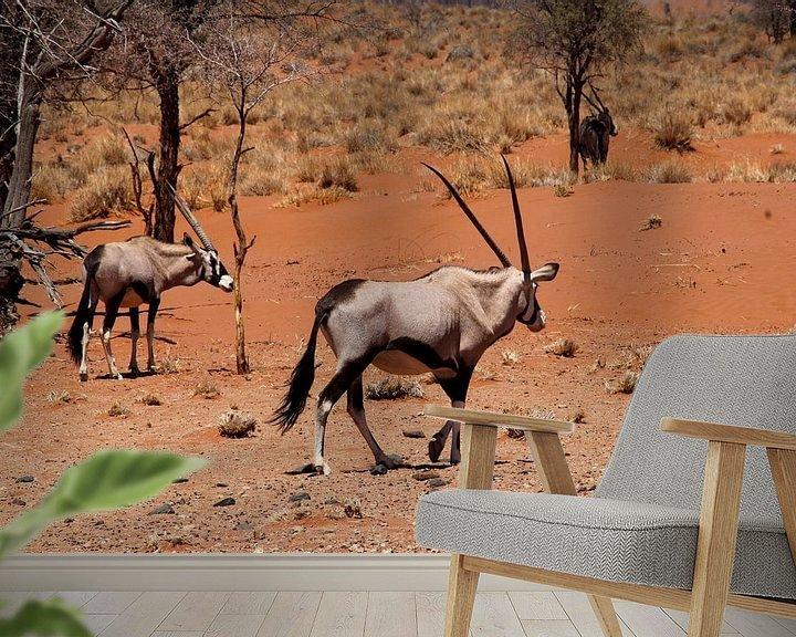 Beispiel fototapete: Gemsböcke Namibia von Inge Hogenbijl