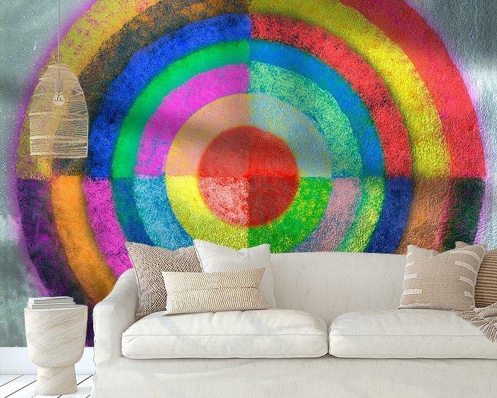 Sfeerimpressie behang: Gelaagde kleurencirkel van Rietje Bulthuis