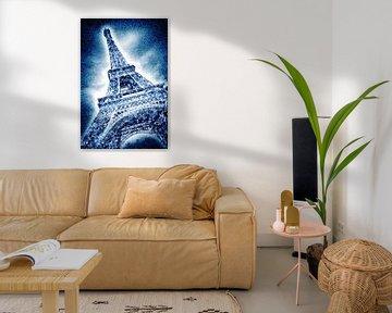 Graphic Art | Frosty Eiffeltower in snow flurry van Melanie Viola