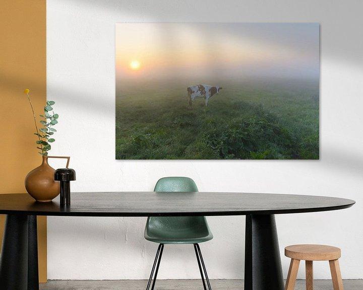 Sfeerimpressie: Koe in mistige polder van Remco Van Daalen