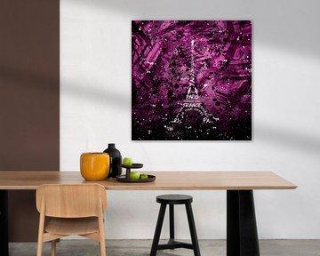 Digital Art Eiffel Tower | pink van Melanie Viola