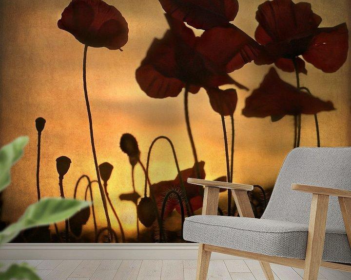 Sfeerimpressie behang: sunset poppies van bob van den berg