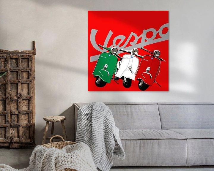 Sfeerimpressie: Vespa's op rood van Jole Art (Annejole Jacobs - de Jongh)