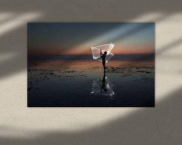Licht harp op de waddenzee door een light paint van Arjan Groot