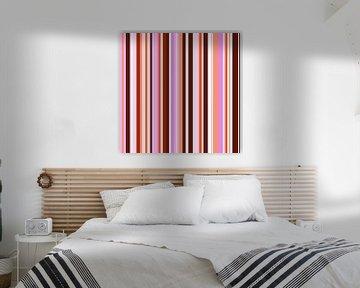 Striped art pink red van Patricia Verbruggen