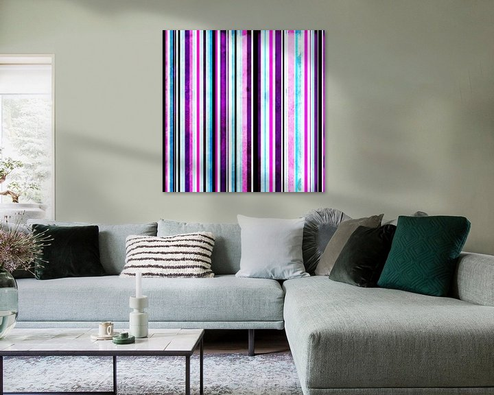 Sfeerimpressie: Striped art pink purple aqua van Patricia Verbruggen