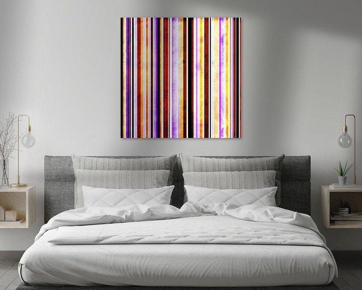 Sfeerimpressie: Striped art yellow, red and purple van Patricia Verbruggen