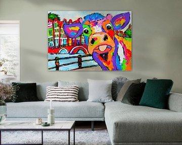 Koe Amsterdam van Vrolijk Schilderij