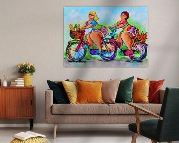 Dames op de fiets van Vrolijk Schilderij
