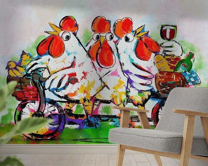 Beispiel fototapete: Hühner auf dem Tandem von Vrolijk Schilderij