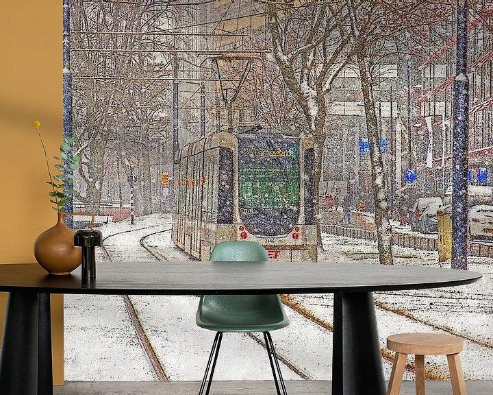 Sfeerimpressie behang: Winter op de Mauritsweg van Frans Blok