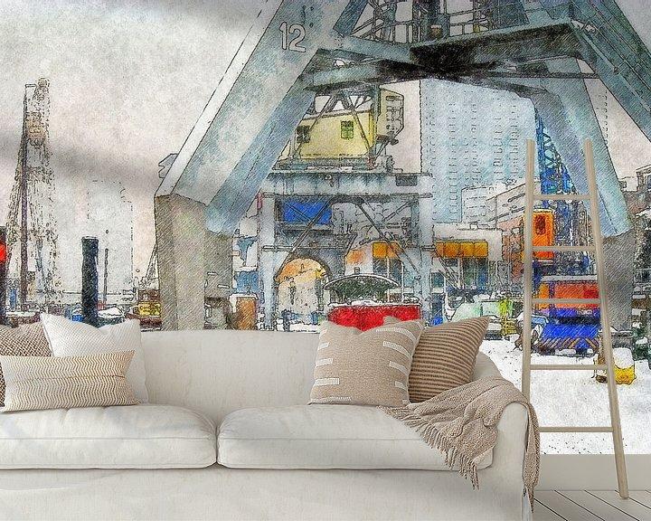 Sfeerimpressie behang: Winter bij de Leuvehaven van Frans Blok