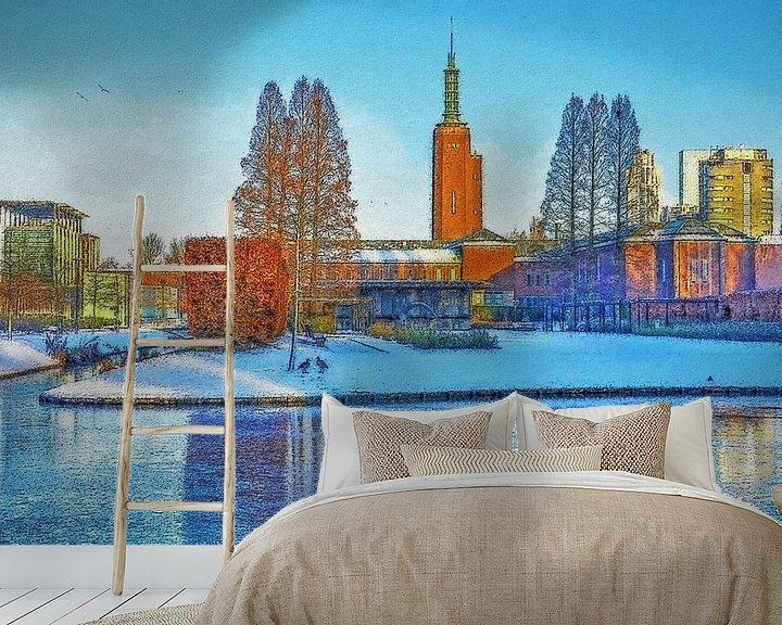 Sfeerimpressie behang: Winterbeeld Museumpark van Frans Blok
