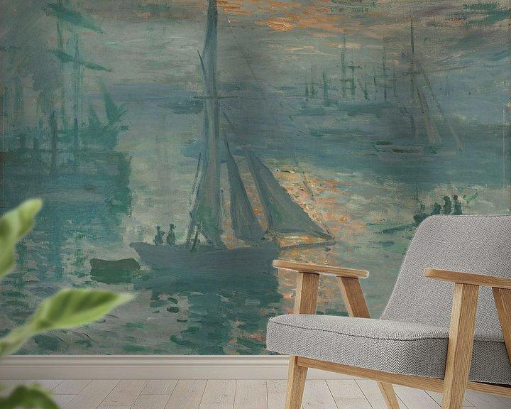 Sfeerimpressie behang: Opkomende zon van Claude Monet