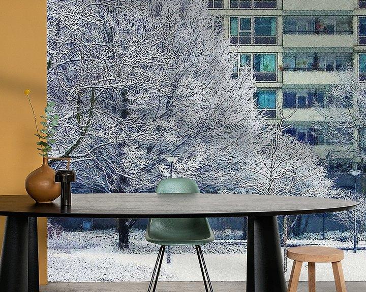 Sfeerimpressie behang: Winterbeeld Lijnbaanhoven van Frans Blok