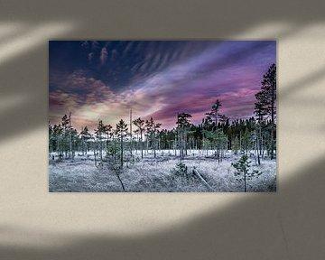 Kleurrijke zonsondergang in midden Zweden van Ralf Köhnke