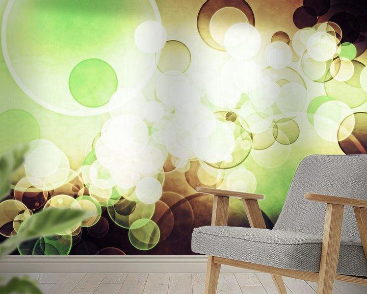 Sfeerimpressie behang: bokeh cofee green van Patricia Verbruggen