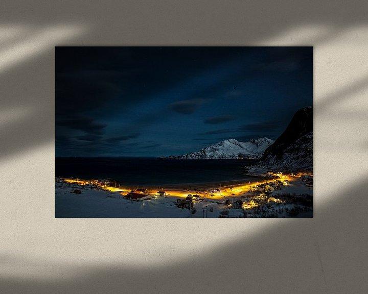 Sfeerimpressie: Koude winternacht in Senja / Lofoten, Noorwegen van Martijn Smeets