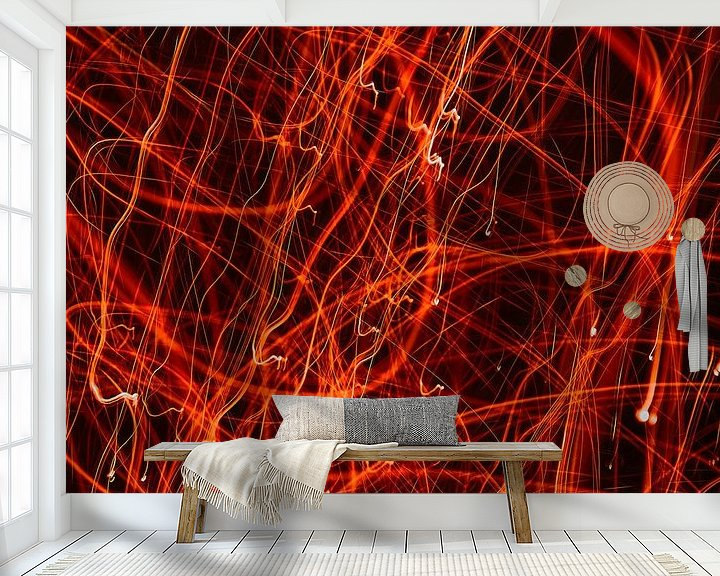 Sfeerimpressie behang: wirwar rood van Ferry Kalthof