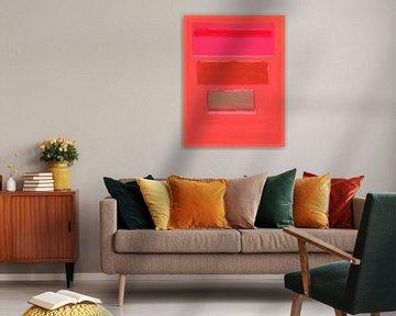 Abstract schilderij in roodtinten van Rietje Bulthuis