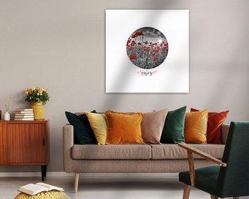 Graphic Art ENJOY | Field of Poppies - colorkey van Melanie Viola