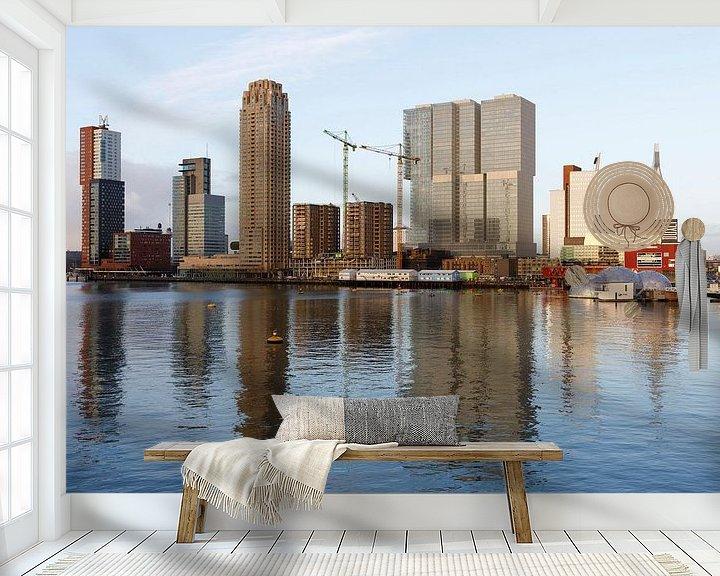 Sfeerimpressie behang: Rijnhaven met uitzicht op de Wilhelminapier van Rick Keus