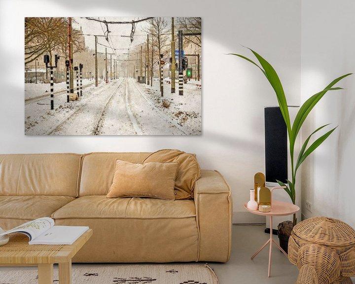 Sfeerimpressie: Sneeuw op de Coolsingel van Frans Blok