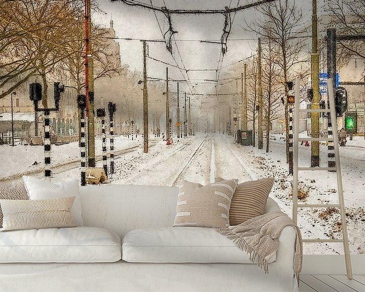 Sfeerimpressie behang: Sneeuw op de Coolsingel van Frans Blok