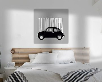 Zwarte Fiat 500 op grijs van Jole Art (Annejole Jacobs - de Jongh)