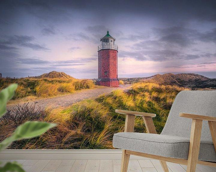 Sfeerimpressie behang: Lighthouse Red Cliff (Kampen / Sylt / North Sea) van Dirk Wiemer