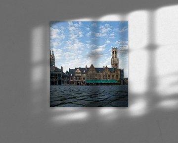 Brugge, burg, zicht op Halletoren en Heilig Bloedbasiliek van Michel De Pourcq