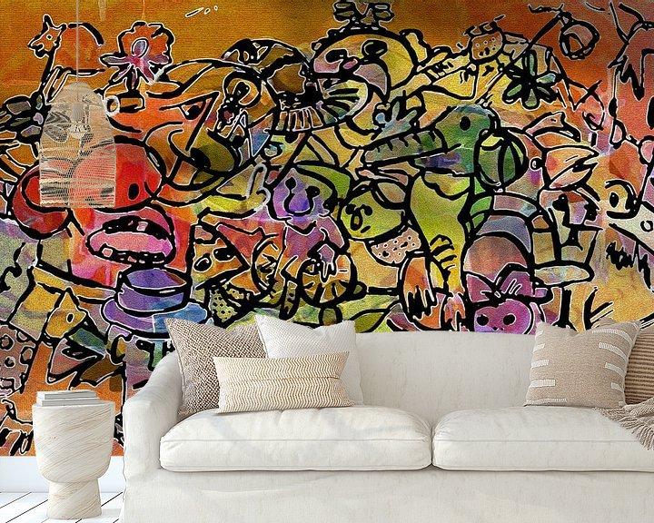 Sfeerimpressie behang: Kleurrijk dagje uit van Henk van Os