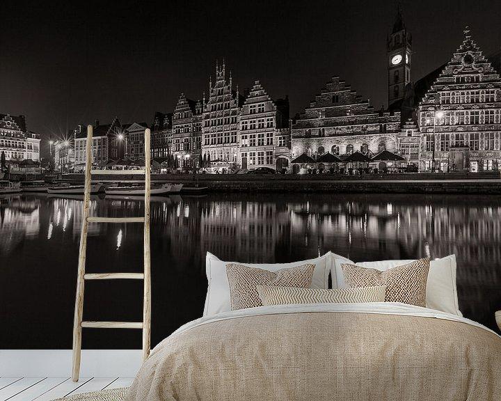 Sfeerimpressie behang: De Graslei in Gent bij nacht van MS Fotografie   Marc van der Stelt