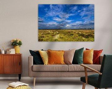 Heideveld onder wolkenlucht van Fred van Bergeijk