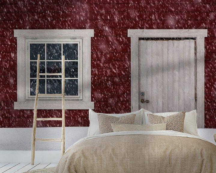 Sfeerimpressie behang: Noors hutje in de sneeuw - Vesterålen, Noorwegen van Martijn Smeets