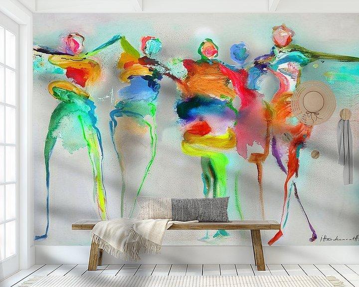 Sfeerimpressie behang: Happy Connected People 1 van Atelier Paint-Ing