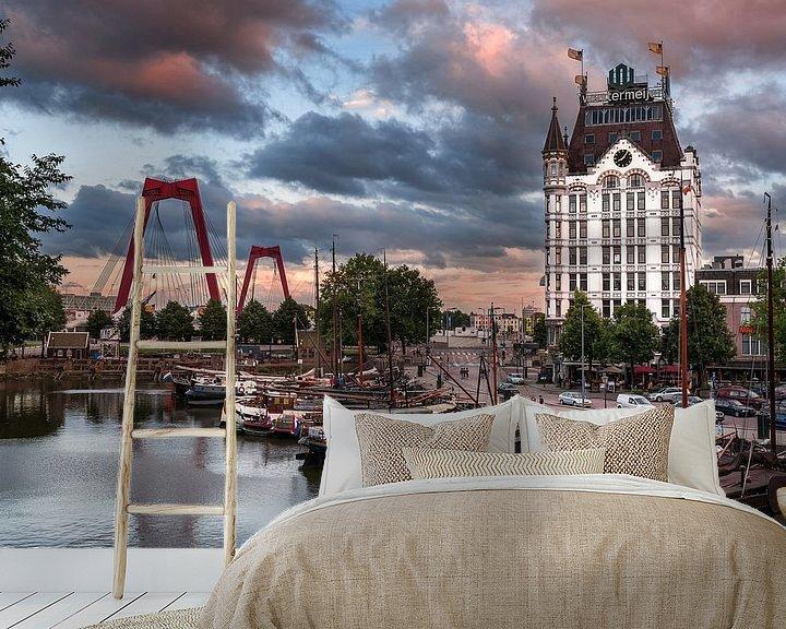 Sfeerimpressie behang: Witte Huis in Rotterdam van Lorena Cirstea