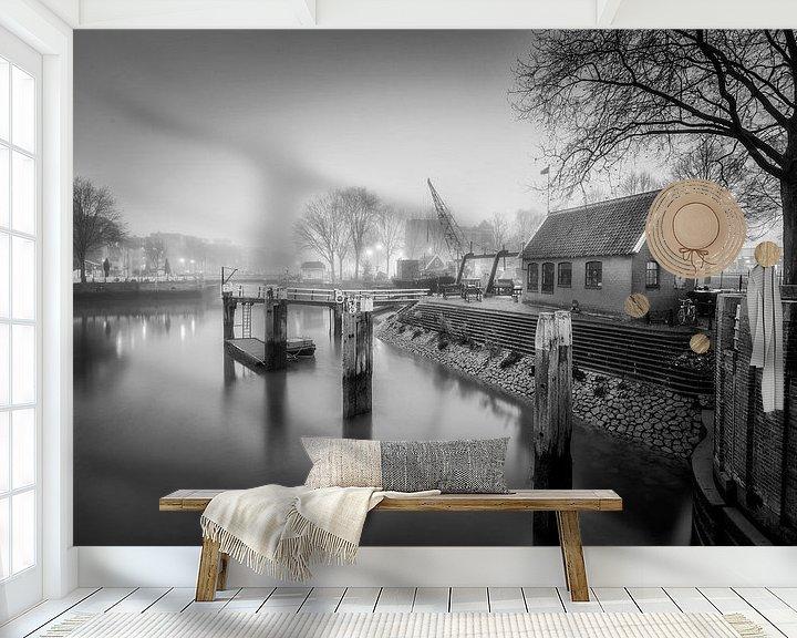 Sfeerimpressie behang: Oude Haven Rotterdam Zwartwit van Rob van der Teen