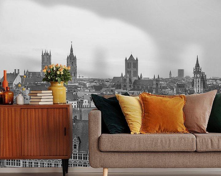 Sfeerimpressie behang: Het uitzicht over de stad Gent van MS Fotografie   Marc van der Stelt